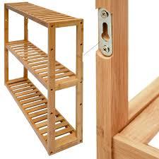 Wandregal 54x60x15cm Bambus Bad Regal 3 Fächer Holz Ablage