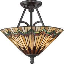 alcott tiffany arts and crafts style semi flush uplighter ceiling light