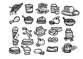 Coloring Pages Food Chain Healthy Foods Cute With Faces Page