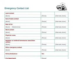 Contact List Spreadsheet Template 5 Emergency Contact List Templates Word Templates