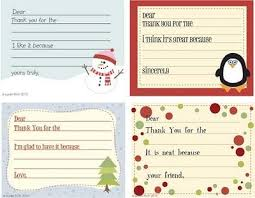 Christmas Note Template Christmas Thank You Notes For Kids To Fill Out The Most Wonderful