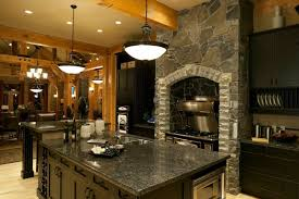 custom black kitchen cabinets. Rustic Kitchen With Black Cabinets Along Stonework Custom K