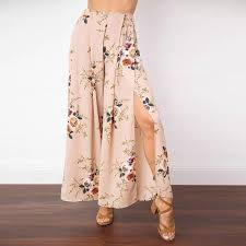 Wrap Pants Pattern Delectable Uwback Women Floral Wrap Pants Wide Leg Elegant Fake Skirt Summer