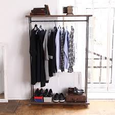 ... Wardrobe Racks, Clothes Rail Double Clothes Rail Dark Wooden Clothing  Rack On Top And Bottom ...