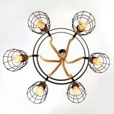 burlap ceiling light black round finish 6 light rope led chandelier with wire guard burlap drum