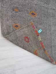 vintage handwoven decorative embroidered grey oversize turkish kilim area rug woveny