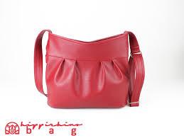 red vegan leather purse bag