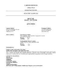 Examples Of Resumes Basic Resume Outline Template
