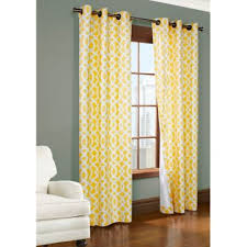 Commonwealth Home Fashions Trellis 63-Inch Room-Darkening Grommet Window  Curtain Panels in Yellow