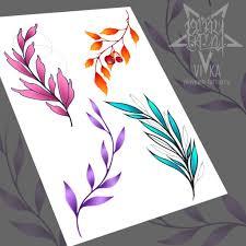 флеш сет для татуировок цветные веточки эскиз тату мастера вики