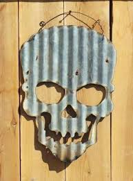 corrugated metal skull letters small
