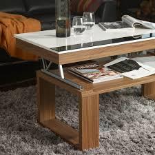 Table Basse Relevable Plateau Blanc Et Pied Bois D Co Et Saveurs Mecanisme Table Basse Relevable