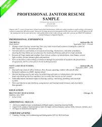 Sample Resume For Janitorial Position
