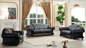 Italian Living Room Furniture Versace Italian Leather Classic Sofa Set By Esf O Usa Furniture Online