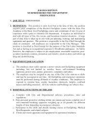 Firefighter Job Description For Resume - Resume