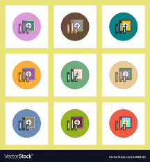 Safe Circle Chart Flat Icons Set Of Column Chart And Safe Concept On