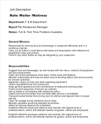 Restaurant Duties Resumes Waitress Job Description For Resumes Magdalene Project Org