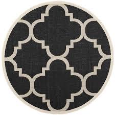 safavieh courtyard black indoor outdoor rug round 6 7