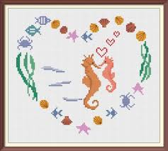 Shell Heart With Sea Horses Modern Cross Stitch Pattern Pdf Chart Instant Download Sea Treasures