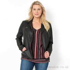 womens leather look biker style blouson jacket taillissime we are larger image