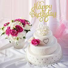 Amazoncom Btsd Home Gold Glitter Happy Birthday Cake Topper For