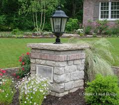 Landscape Pillar Lighting Mortared Natural Stone Pillar With Landscape Lighting And