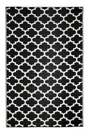 outdoor plastic rug mat recycled polypropylene patio picnic 180x120cm black geo for