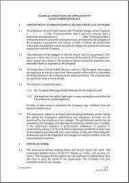 Work Contract Templates Fixed Short Term Employment Contract Template ContractStore 2