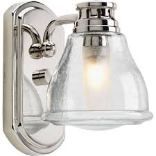 bathroom light sconces. Progress Lighting Academy Collection 1-Light Polished Chrome Bath Sconce With Clear Seeded Glass Shade Bathroom Light Sconces E