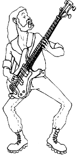 Small Picture Guitar player coloring pages Standing bass guitar player