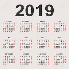 Calendar 2019 Year Vector Design Template Simple 2019 Year Calendar