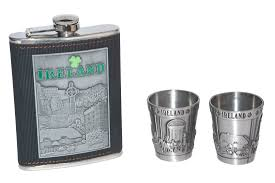 Ireland Collage Stainless Steel <b>Hip Flask</b> Gift <b>Set</b> With Two <b>Shot</b> ...