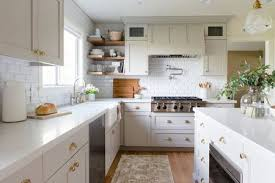 pale white marble countertops in simple kitchen