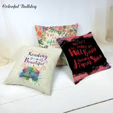 printed pillow cases. Custom Printed Pillow Cases Inspirational Sentence Watercolor Flower Leaves Butterfly 17*17 Cushions Home Car