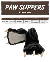 Womens Slipper Size Chart Black Bear Paw Slipper Lazyone