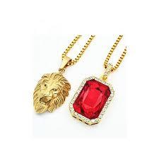 lion head ruby onyx pendant gold chain necklaces