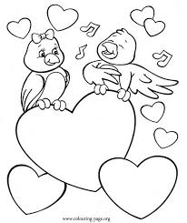 Valentine S Day A Bird Singing To His Beloved Coloring Page