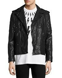 studded leather biker jacket black