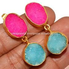 natural agate druzy stone drop earring boho fashion jewelry whole india