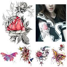 1 шт эскиз наклейки водонепроницаемый татуировки сердце роза цветок узор дизайн