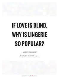 Love Is Blind Quotes Interesting If Love Is Blind Why Is Lingerie So Popular Picture Quotes