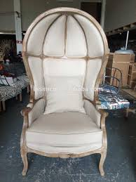 French Provincial Canopy Birdcage Chair/ Antique Limed Gray Oak Wooden  Linen Upholstered Birdcage Chair,