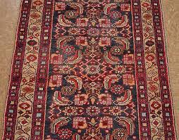 1 of 8free 3 x 10 persian sarouk tribal hand knotted wool navy red oriental rug runner