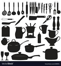 kitchen utensils silhouette vector free. Kitchen Tools Silhouette Vector Image Utensils Free VectorStock