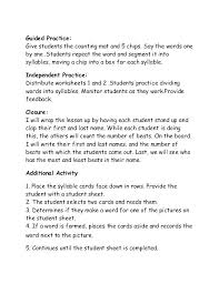 Free Printable Syllable Worksheets For Kindergarten And