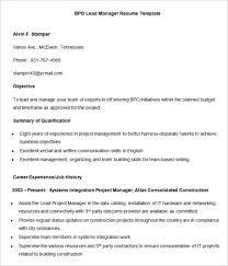 Resume For Team Leader In Bpo Bpo Resume Format Resume Sample