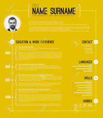 Vector Minimalist Cv Resume Template With Timeline Yellow