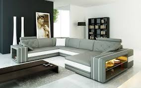 modern leather sectional couch. Wonderful Modern Grey Leather Sectional Sofa With Display Shelves VG142 Intended Modern Couch