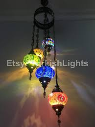 5 ball turkish mosaic chandelier mix globes