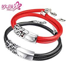 ouyan bracelets black red double leather bracelets set sterling silver engraved clouds